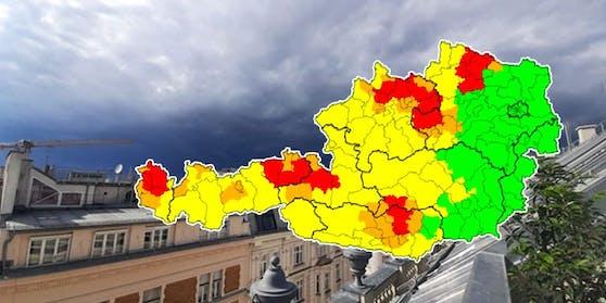 Heftige Hagel-Gewitter ziehen über Österreich.