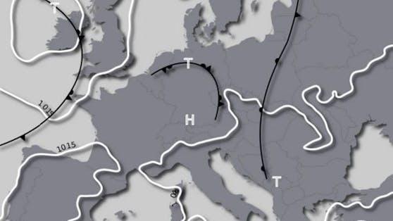 Österreich liegt in der kommenden Woche an der Vorderseite eines Tiefs über Frankreich.