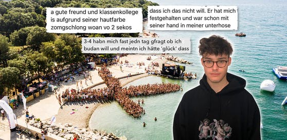 Bastian K (r.) aus NÖ sammelte schockierende Berichte über Maturareise-Event.