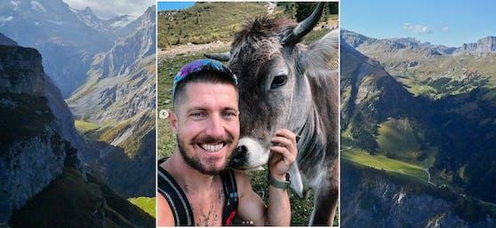 Marcel Hirscher posiert mit einer Kuh