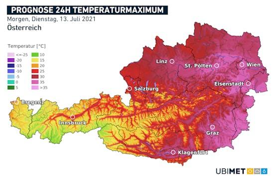 So heiß wird es am Dienstag in Österreich.