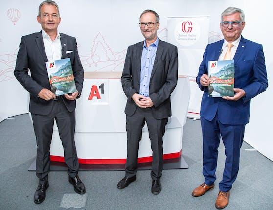 Marcus Grausam, A1 CEO, Bertram Barth, Geschäftsführer Integral und Alfred Riedl, Präsident der Österreichischen Gemeindebundes