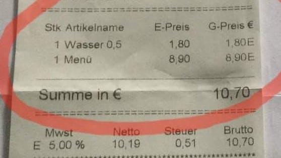 Diese Rechnung mit dem verrechnetem Wasser ärgerte den Kunden.