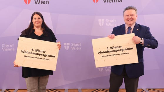Wohnbaustadträtin Kathrin Gaal und Bürgermeister Michael Ludwig präsentierten am Dienstag das 1. Wohnbaumprogramm.