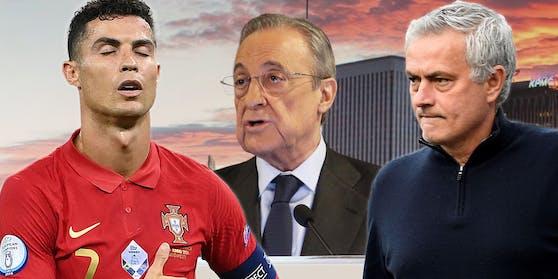 Cristiano Ronaldo, Florentino Perez und Jose Mourinho.