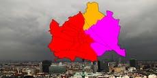 Für diese Wiener Bezirke gilt jetzt höchste Warnstufe