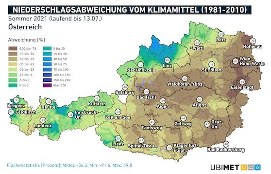 Niederschlagsabweichung vom Klimamittel