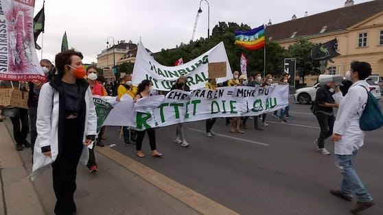 In der City wurde am Freitag gegen den Bau des Lobautunnels demonstriert