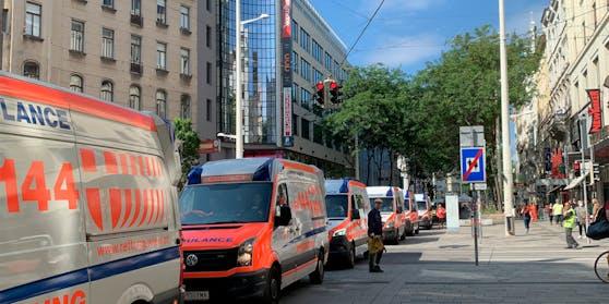 Etwa 18 Rettungsautos verschiedener Organisationen protestierten rollend auf der Mariahilfer Straße.