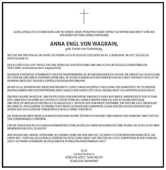 Anna Engl starb vor mehr als 400 Jahren, ein Nachfahre gab jetzt eine Todesanzeige auf.