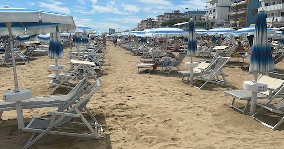 Der sonst überfüllte Strand in Jesolo war menschenleer.
