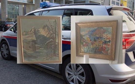 Zwei der verschwundenen Kunstwerke - die Polizei fahndet nach den Bildern.