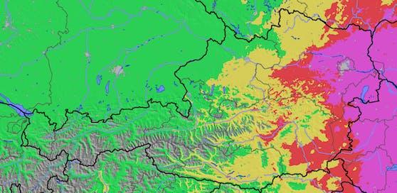 Extrem hohe Waldbrandgefahr am Donnerstag (8. Juli 2021) in Wien, Niederösterreich und dem Burgenland.