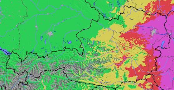 Extrem hohe Waldbrandgefahr am Donnerstag (8. Juli 2021) in Wien, Niederösterreich, Burgenland und der Steiermark