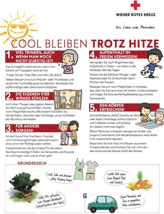 Das Wiener Rote Kreuz gibt Tipps gegen den Hitzestress.